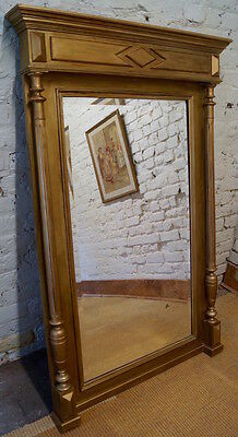 Large Antique French Henri II Antique Gold Over Mantle Mirror