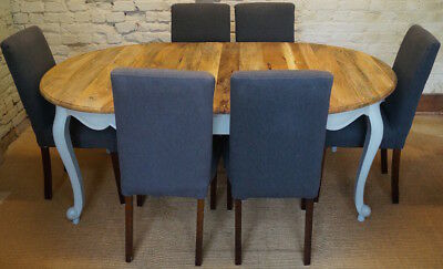 French Louis XV Style Oak Dining Table with six Coach House Dining Chairs