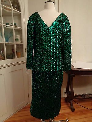 LILLI DIAMOND vintage metallic emerald green sequined cocktail suit women's 20