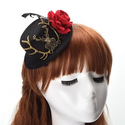Women's Black Gothic Mini Top Hat Victorian Steampunk Hairclip Deer Rose Element