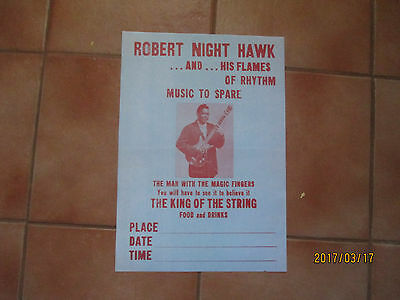 Robert Nighthawk And His Flames Advertising Poster  Sirca 1960's Reproduction
