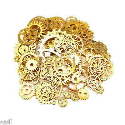 Lot of 50 pcs Vintage Golden Watch Parts Steampunk Cogs Gears DIY Jewelry Craft