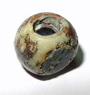 """Highly Unusual ANCIENT STONE """"EYE"""" BEAD - from the AFRICAN TRADE.. mb-7198"""