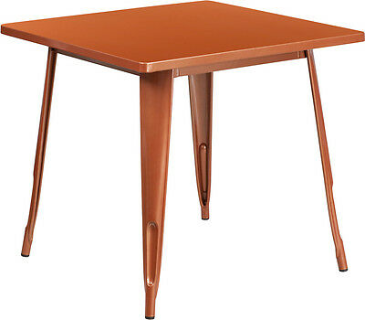 31.5'' Square Copper Metal Restaurant Table Set With 4 Stack Chairs
