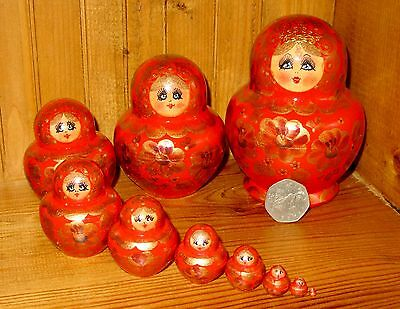 Russian nesting doll 10 RED GOLD MATRYOSHKA hand painted SIMAKOVA signed GIFT