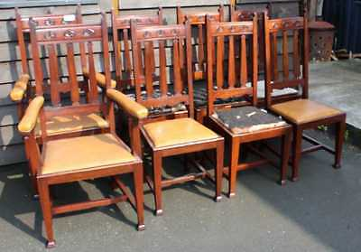 Set 8 Mahogany Arts & Crafts style Dining chairs Carved Backs Being upholstered • £750.00