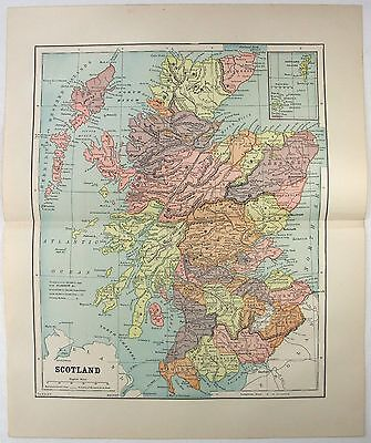 Original 1891 Map of Scotland by Fisk & Company