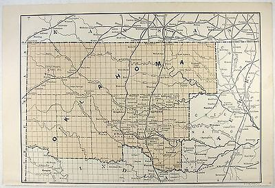 Original 1891 Map of The Oklahoma Territory by E. F. Fisk
