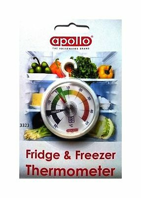 Fridge Thermometer For Freezer Refrigerator With Hanging Hook Dial Analogue New