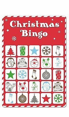 15 Christmas Bingo Cards Xmas Party Stocking Gift Bag Filler Secret Santa Game