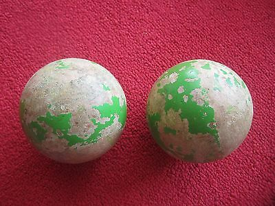 Vintage Set of (2) Green Wooden Bocce Lawn Bowling Balls w/ Paint loss