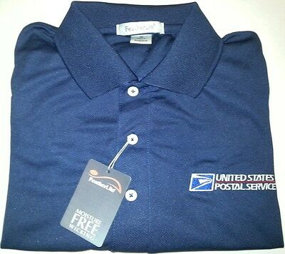 USPS Embroidered MOISTURE WICKING Polo Shirt/ Navy Blue /DRYFIT2  Size: Sm - 2XL