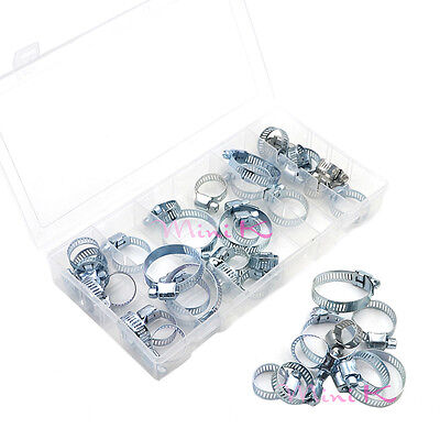 26/34/40/64 x Assorted Stainless Steel Hose Clamp+ Driver Jubilee Clip Set Kit
