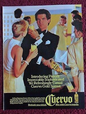 1986 Print Ad Jose Cuervo Tequila ~ PIERCE BROSNAN Casual Cuervo Gold Sunset