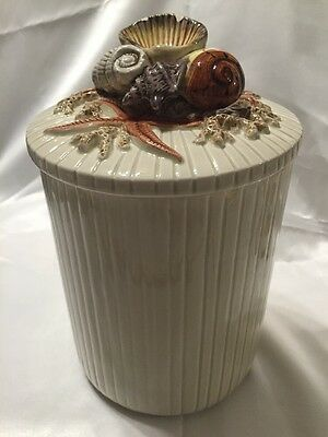Fritz And Floyd Multi Shell Canister Hand Painted Beach Decor