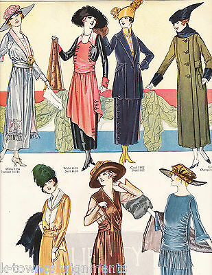 WOMEN'S DRESSES IN COLD WEATHER WEAR VINTAGE 1920s GRAPHIC ART FASHION AD PRINT
