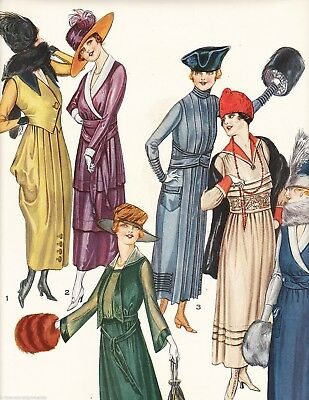 WOMEN IN FINE DRESS WITH MUFFS VINTAGE 1920s GRAPHIC ART FASHION AD PRINT