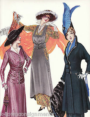 WOMEN IN DRESSES WITH ORANGE SCARFS VINTAGE 1920s GRAPHIC ART FASHION AD PRINT