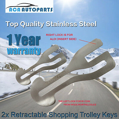 Market Removable Shopping Cart Trolley Keys Stainless Steel AU$1 Coin ALDI COLES