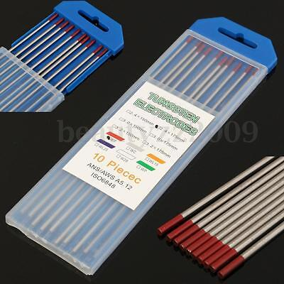 "10Pcs 2% Thoriated WT20 Red TIG Welding Tungsten Electrode Bars 3/32""x7"" 2.4mm"