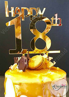 Happy 18th Birthday Cake Toppers Acrylic Party Parties Decorations Gold Silver