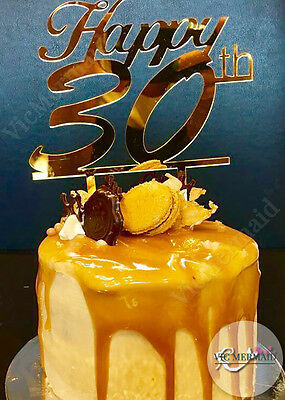 Happy 30th Birthday Cake Toppers Acrylic Party Parties Decorations Gold Silver