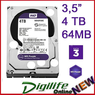 "Western Digital WD 4TB Purple Surveillance HDD 3.5"" SATA 6GB Internal Hard Drive"