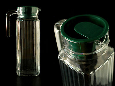 Vintage Arc France Ribbed Clear Glass Juice Pitcher W/ Green Lid Stopper