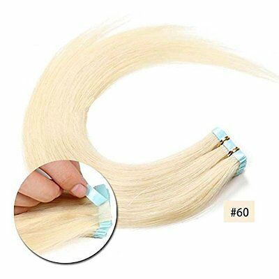 Tape In 100% Virgin Human Hair Extensions Seamless Weft Platinum Blonde #60