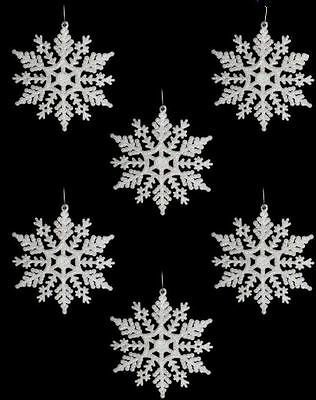 6 White Glitter Snowflake Christmas Tree Decoration Wall Hanging Frozen Ornament