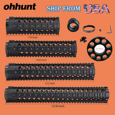 "Ohhunt 15"" 12"" 10"" 7"" Free Float Quad Rail Hand guard with .750 Front End Cap"