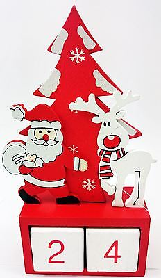 Wooden Advent Xmas Cute Santa & Rudolf Countdown Calendar Room Decorations Gifts