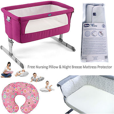 Chicco Fuchsia Special Edition Next 2 Me Crib With  Pillow & Mattress Protector