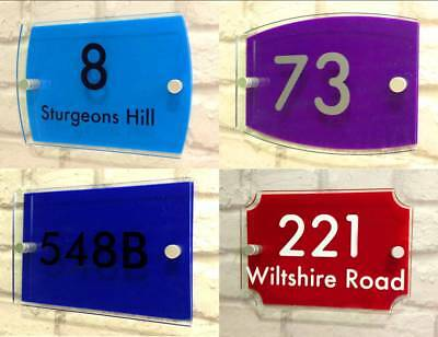 Contemporary House Sign Door Number Street Address Glass Effect Acrylic Plaque
