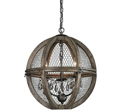 Wire Sphere Crystal Chandelier French Farmhouse Restoration Hardware Replica NEW