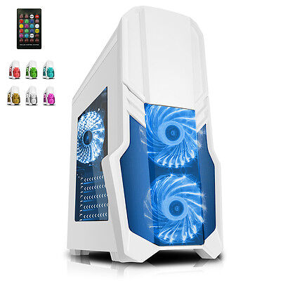 CIT G Force White PC Gaming Case with 2 x RGB Front 1 x Rear Fans & Remote- New