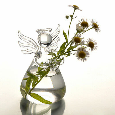 Cute Clear Glass Angel Shape Flower Plant Hanging Vase Container Decor