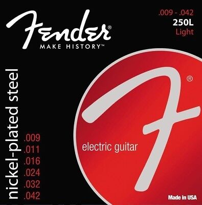 3 Sets Fender 250L Light Electric Guitar Strings Nickel-Plated Steel 9-42