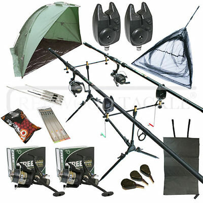 Full Carp Fishing Set Up Kit Rods Reels Alarms & Tackle Mat  & Shelter