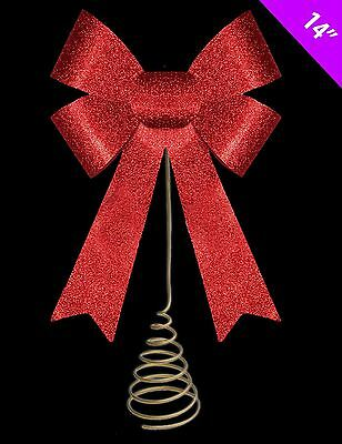 Red Glitter Ribbon Bow Tree Top Topper Christmas Party Decoration Shiny Ornament