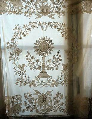 Lace Embroidery Church Hand Work Table Runner Altar 1849s Antique /974