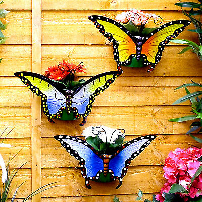 Set of 3 Butterfly Wall Planters Potted Plant Pot Flower Flowerpots
