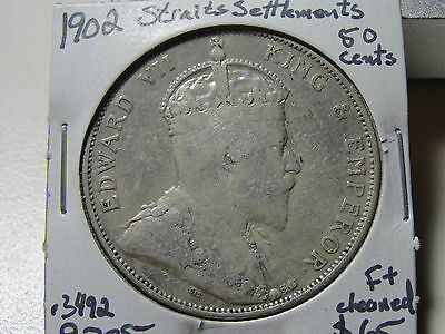 1902 50c Straits Settlement  Fifty Cent F+ Coin Cleaned