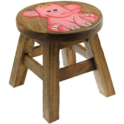 Solid Wood Wooden Round Elephant Design Kids Foot Stool Children Seat Furniture