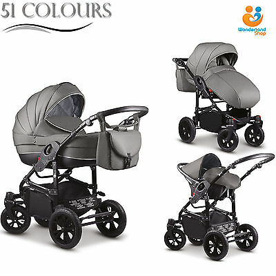 Baby Pram Buggy 3in1 Car Seat Carrycot Combi Travel System Pushchair From Birth