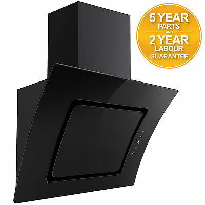 SIA AT91BL 90cm Touch Control Black Curved Glass Cooker Hood Extractor Fan