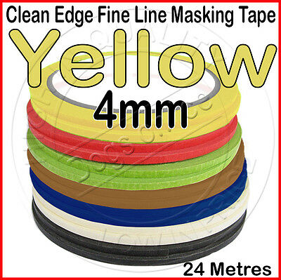 Clean Edge Fine Line Masking Tape 4mm x 24M YELLOW - Paint Models Nails AU - UK