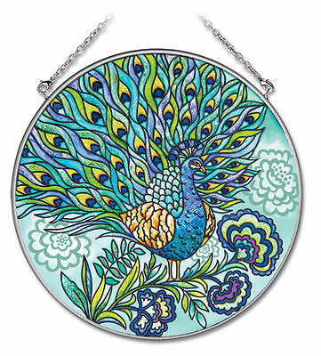 "Peacock Sun Catcher AMIA Blue Feathers Hand Painted 6.5"" Large Round New"