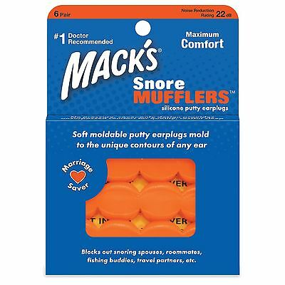 Macks Mufflers Moldable Hypoallergenic Silicone Swimming Earplugs 6 Pairs
