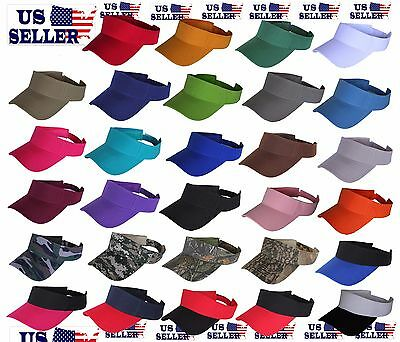 Visor Sun Plain Hat Sports Cap Colors Golf Tennis Beach Adjustable Men Women